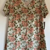 Nwt Lularoe Christy T Tee Medium Stunning Digital Floral Rose Print Mint Shirt Photo