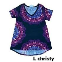 Nwt Lularoe Christy Tee Stretchy Large Black Mandala Print Multicolor Photo