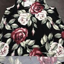 Nwt Lularoe L Tank Top Black Blush Roses Red Pink Kristina v Neck Unicorn  Photo
