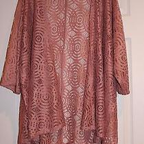 Nwt Lularoe Large Lindsay Solid Pink/blush Lace Kimono - Unicorn Photo