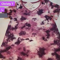 Nwt Lularoe Size Large Mulberry Cranberry Tie Dye Women's Christy T-Shirt Top Photo