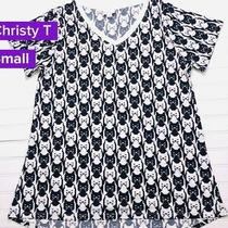 Nwt Lularoe Size Small Black White Digital Cat Heads Women's Christy T-Shirt Photo