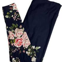 Nwt Lularoe Tc2 Leggings Navy Blue Dipped Pink Blush Roses Floral 2021 Gorgeous  Photo