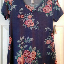 Nwt Lularoe Xxs Christy T Short-Sleeved T-Shirt Purple Pink Flowers Women Photo