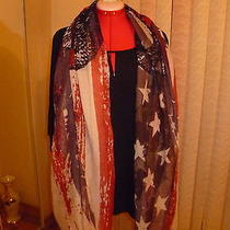 Nwt Lulu Large Scarf/wrap Red/navy/ivory Prints Size 76
