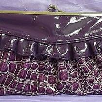 Nwt Lulu Womens Clutch Wallet - Purple Croco Kiss Closure Lots of Pockets New Photo