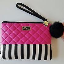 Nwt Luv Betsey Johnson Black White Stripe Fuchsia Quilted Wristlet Bag Photo