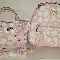 Nwt Luv Betsey Johnson Blush Kitty Daisy Floral & Stripe Mini backpack&crossbody Photo