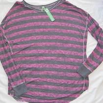 Nwt M Honeydew Intimates Pink Taffeta Marble Gray Stripe Slub Drop Sleep L/s Top Photo