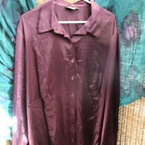 Nwt Macys Style & Co St Moritz Dk Violet Shiny French Cuff Dress Shirt Top 24w Photo