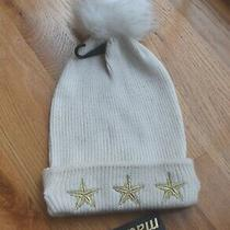 Nwt- Madden Nyc Ivory Pom-Pom Cuff Gold Embroidered Stars Beanie Hat (One Size Photo