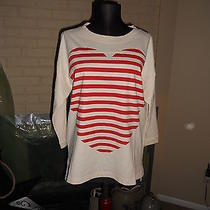 Nwt Madewell 1937 Heartbeat Tee Ivory & Red 3/4 Sleeves  Size Small Photo
