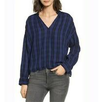 Nwt Madewell Chelton Highroad Blue Plaid L/s Loose-Fit Popover Top Sz L 88 Photo