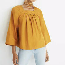 Nwt Madewell Mustard Yellow Square Neck Top Size Small Photo