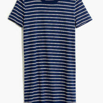 Nwt Madewell Tee Dress in Epperson Stripe Blue Cotton Short Sleeve Size S Photo