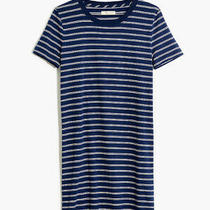 Nwt Madewell Tee Dress in Epperson Stripe Blue Cotton Short Sleeve Womens M Photo