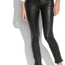 Nwt Madewell Womens 100% Real Leather Pants Sz 27 Ankle Zip Photo