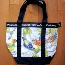 Nwt Magaschoni Bird Printed Canvas Tote Bag Photo