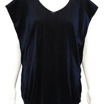 Nwt Magaschoni Navy Blue Cotton Hooded Knit Top Sz S   Photo
