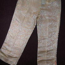 Nwt Magaschoni  Silk Metallic Cropped Evening Pants Slacks Sz 10  Retail 268 Photo