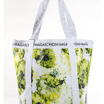Nwt Magaschoni White Green Floral Canvas Tote Purse Medium Handbag Photo