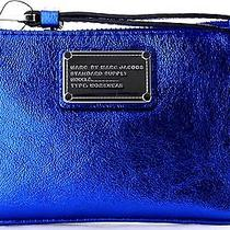 Nwt Marc by Marc Jacobs Small Classic Q Leather Key Ring Wristlet Scuba Blue Photo