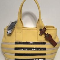 Nwt Marc by Marc Jacobs Womens Citronella/ecru/sequin Lg Canvas Tote Bag Purse Photo