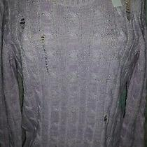 Nwt Marc Jacobs Distressed Cableknit Purple Sweater Size Xsmall Photo