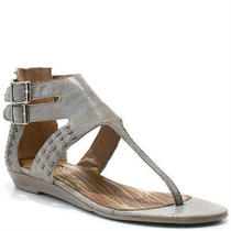 Nwt Matiko Bree Gladiator Flat Gray Leather Silver Flat Studded Sandal 10  Photo