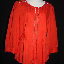 Nwt Meadow Rue Anthropologie Women's Orange 100% Cotton Fluted Tunic Sz 14 L498 Photo