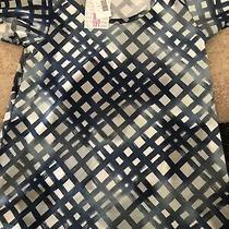 Nwt Med Lularoe Christy Tee. Blue W/gray Squares Photo