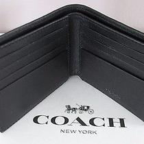 Nwt Men's Coach Sport Calf Leather Double Billfold Wallet Black  F75084 150  Photo