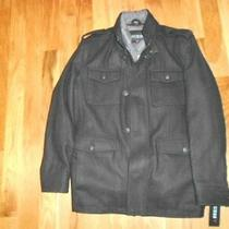 Nwt Men's Guess Wool Militarystyle Peacoat (X-Large) - Black / Grey Lining Photo