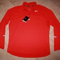 Nwt Men's Nike L/s Dri-Fit Element Half-Zip Runner's Top Bright Crimson - Small Photo