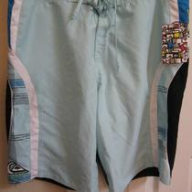 Nwt...men's Quicksilver Board Shorts....aqua/navy...size 36 Photo