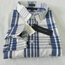 Nwt Men's Tommy Hilfiger Casual Long-Sleeve Shirt Blue White Xl X-Large Photo