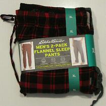 Nwt Mens Eddie Bauer Sleepwear 2 Pair Red Gray Flannel Lounge Pajama Pants Xl Photo