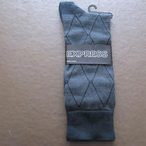 Nwt Mens Express Black Dress Socks 1 Pair Black Fits Shoe Size 8 to 12 Photo