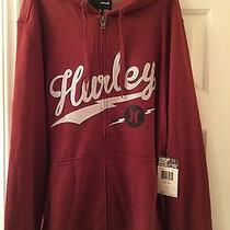 Nwt Mens L Hurley Full Zip Bolted Hooded Hoodie Sweatshirt on Heather Red Photo