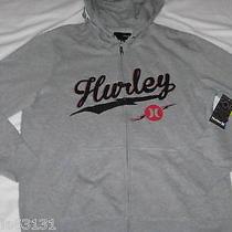 Nwt Mens M Hurley Full Zip Bolted Hooded Hoodie Sweatshirt on Heather Gray Photo