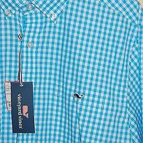 Nwt Mens Vineyard Vines Slim Fit Tucker Hightide Gingham Blue Lagoon Shirt Sz L Photo
