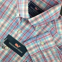 Nwt Mens Vineyard Vines Slim Fit Tucker Shirt L/s Sz S Bahama Breeze Plaid Whale Photo