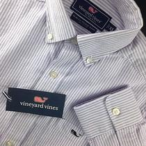 Nwt Mens Vineyard Vines Slim Fit Tucker Shirt L/s Xs Oxford Thistle Stripe Whale Photo