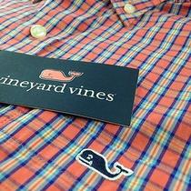 Nwt Mens Vineyard Vines Tucker Shirt L/s Sz Xs Coral Reef Plaid Whale on Pocket Photo