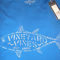 Nwt Mens Vineyard Vines Tuna Stencil Spinnaker Blue Short Sleeve T-Shirt Medium Photo