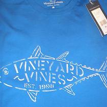 Nwt Mens Vineyard Vines Tuna Stencil Spinnaker Blue Short Sleeve T-Shirt Medium Photo