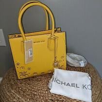Nwt Michael Kors 278 Mercer Medium Messenger Crossbody Tote Yellow/gold Photo