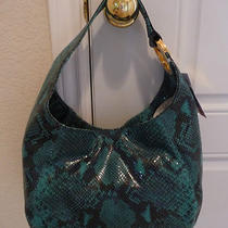 Nwt Michael Kors Aqua Fulton Python Embossed Leather Medium Bag Purse Tote Photo