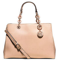 Nwt Michael Kors Blush Rose Gold Cynthia Medium Leather Satchel Tote 348 Photo