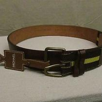 Nwt Michael Kors Brown Leather & Nylon Belt Size 36 Photo
